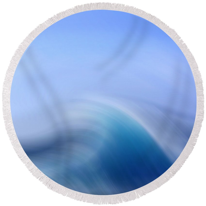 Abstract Round Beach Towel featuring the digital art Surreal Waves 3 by Linsey Williams
