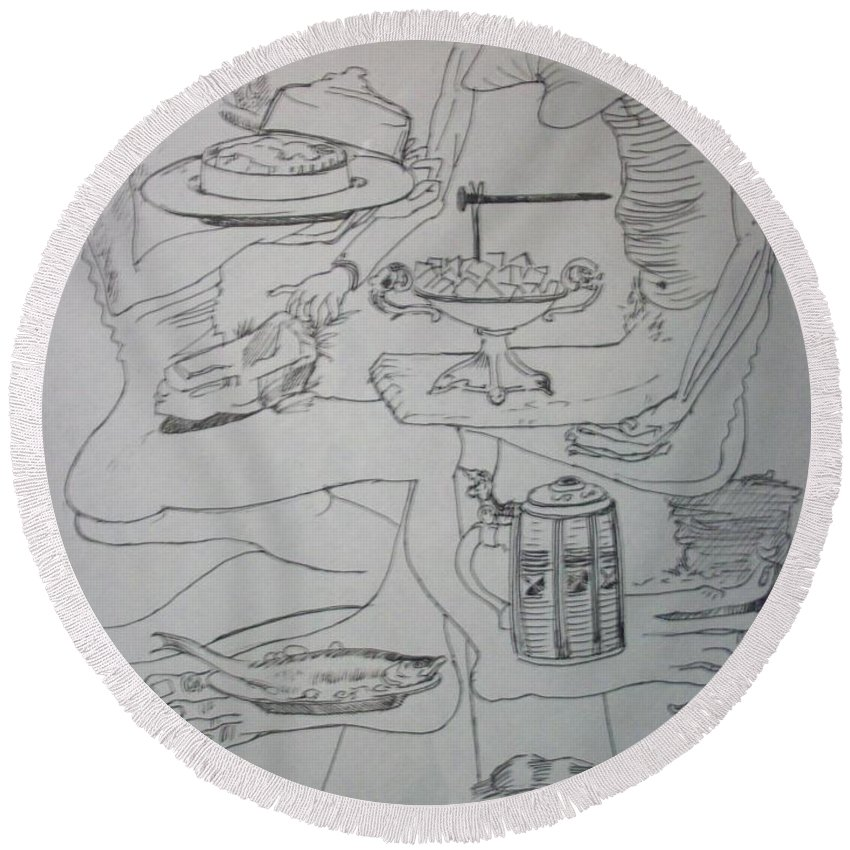 Round Beach Towel featuring the drawing Surrealist Man And Woman by Jude Darrien