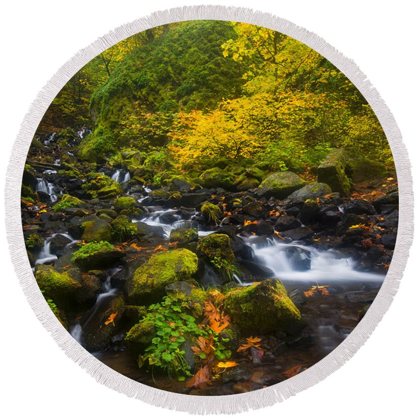 Waterfall Round Beach Towel featuring the photograph Surrounded By Fall Color by Mike Dawson