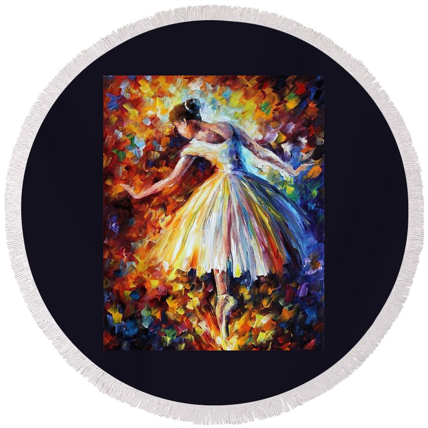 Afremov Round Beach Towel featuring the painting Surrounded By Music by Leonid Afremov