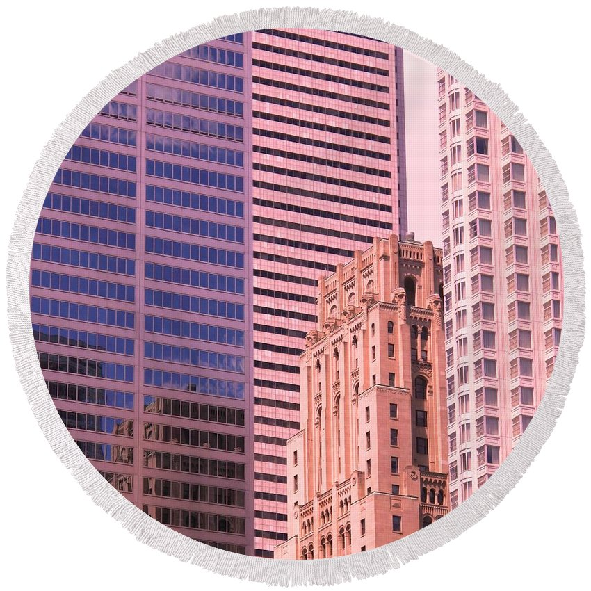 Office Buildings Round Beach Towel featuring the photograph Surrounded by Ian MacDonald