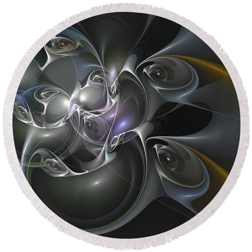 Abstract Round Beach Towel featuring the digital art Surveillance State by Casey Kotas