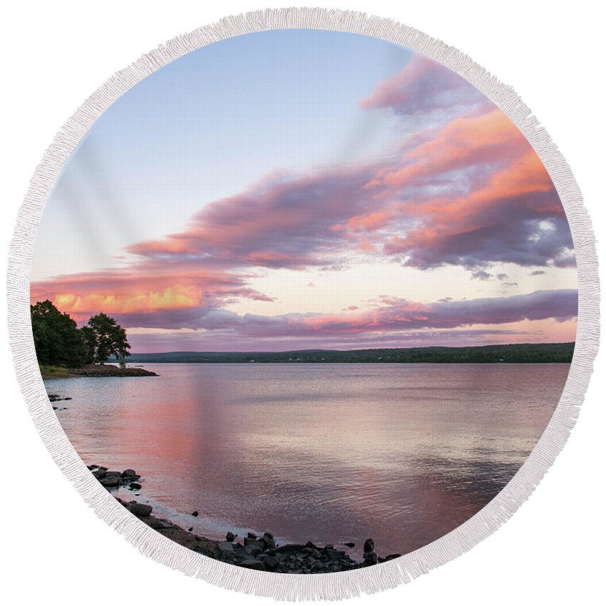 Sunset Round Beach Towel featuring the photograph Susnet Nova Scotia by Trace Kittrell