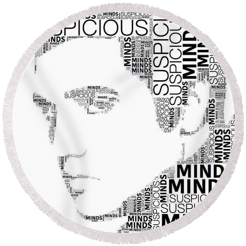 Alicegipsonphotographs Round Beach Towel featuring the digital art Suspicious Minds Elvis Wordart by Alice Gipson