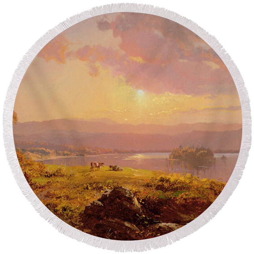 Susquehanna River Round Beach Towel featuring the painting Susquehanna River by Jasper Francis Cropsey