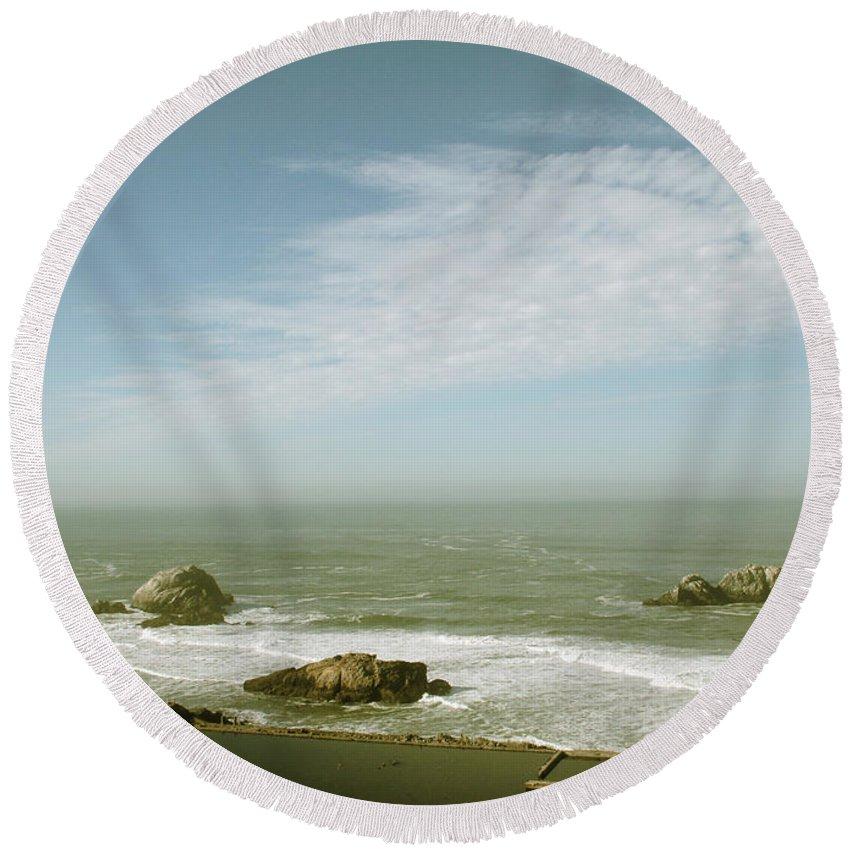 San Francisco Round Beach Towel featuring the photograph Sutro Baths San Francisco by Linda Woods