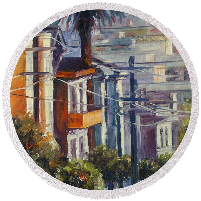 Cityscape Round Beach Towel featuring the painting Post Street by Rick Nederlof