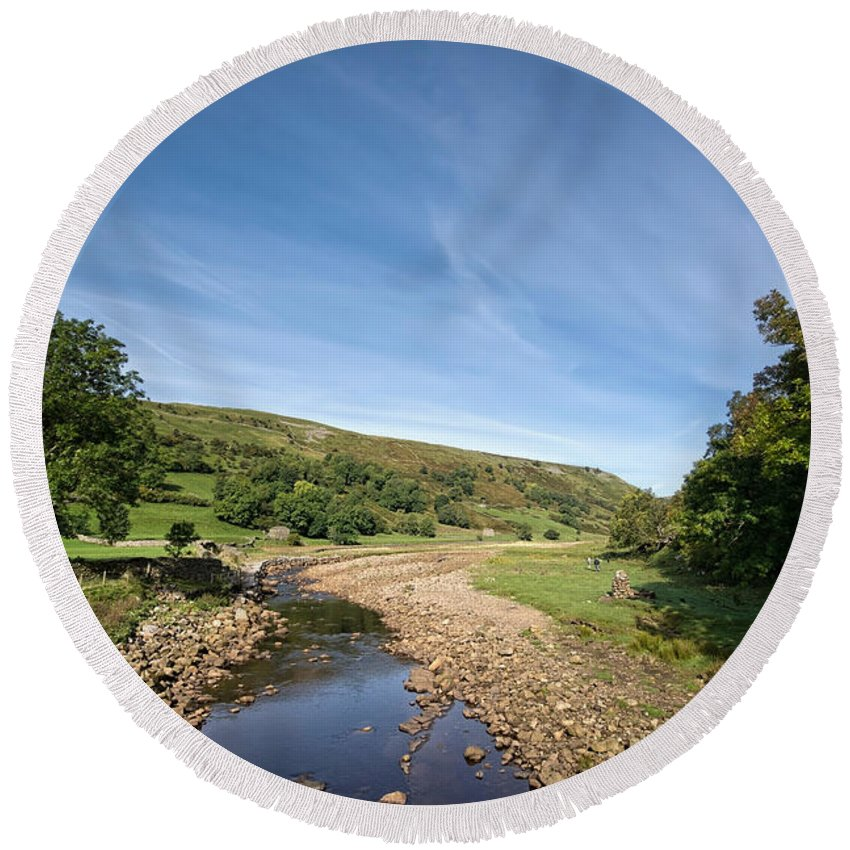 Muker Swaledale Round Beach Towel featuring the photograph Swaledale At Muker by Smart Aviation