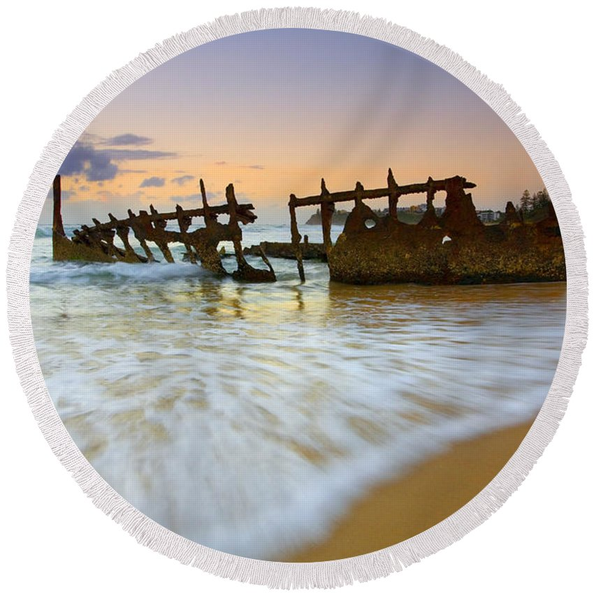Shipwreck Round Beach Towel featuring the photograph Swallowed By The Tides by Mike Dawson