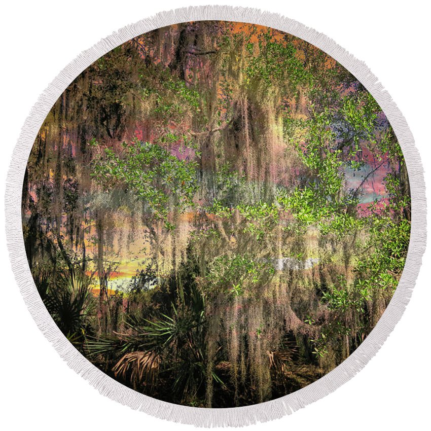 Louisiana Swamp Round Beach Towel featuring the photograph Swamp 2 by Larry White