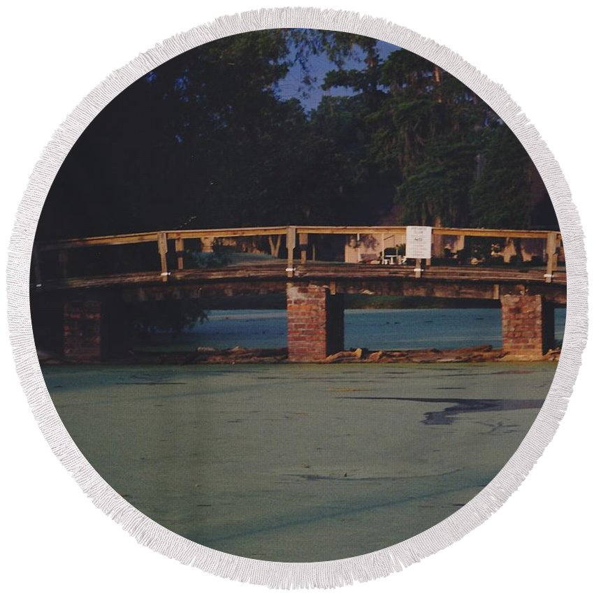 Bridge Round Beach Towel featuring the photograph Swamp Bridge by Michelle Powell