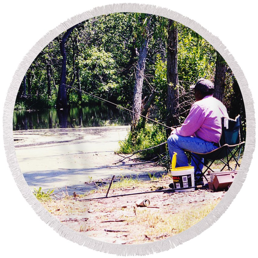 Swamps Round Beach Towel featuring the photograph Swamp Fishing by Michelle Powell
