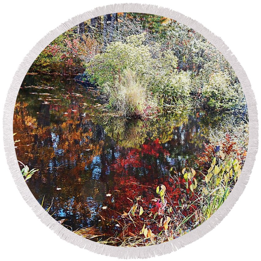Peak Foliage In Maine During Autumn Round Beach Towel featuring the photograph Swamp Whimsey by Expressionistart studio Priscilla Batzell