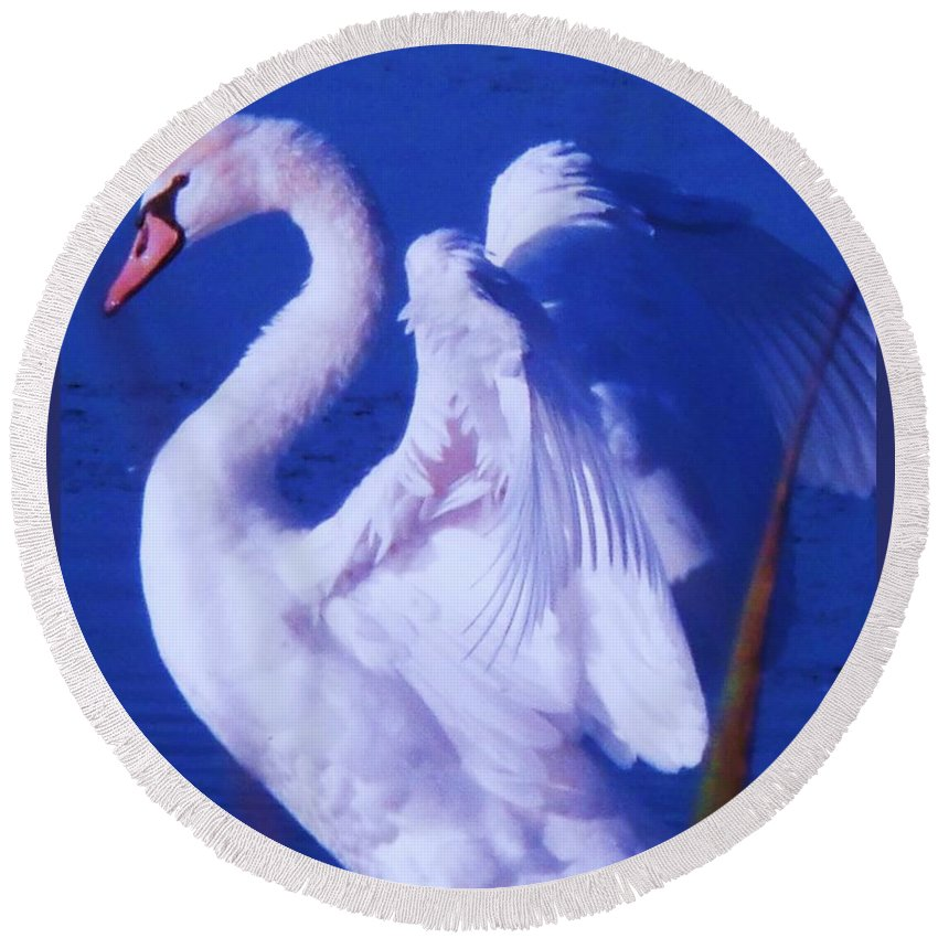 Cape Round Beach Towel featuring the painting Swan At Cape May Point State Park by Eric Schiabor