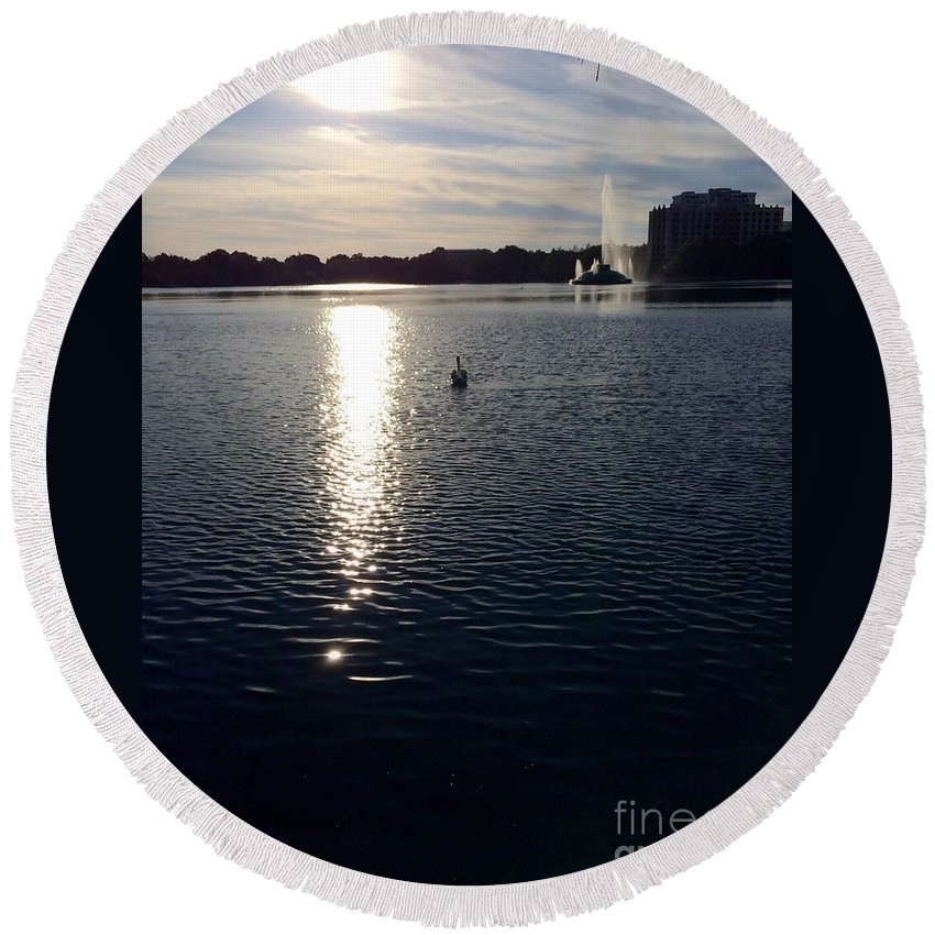 Photography Round Beach Towel featuring the photograph Swan At Sunrise by Gail Nandlal
