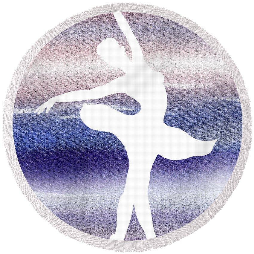 Swan Lake Round Beach Towel featuring the painting Swan Lake Ballerina Silhouette by Irina Sztukowski