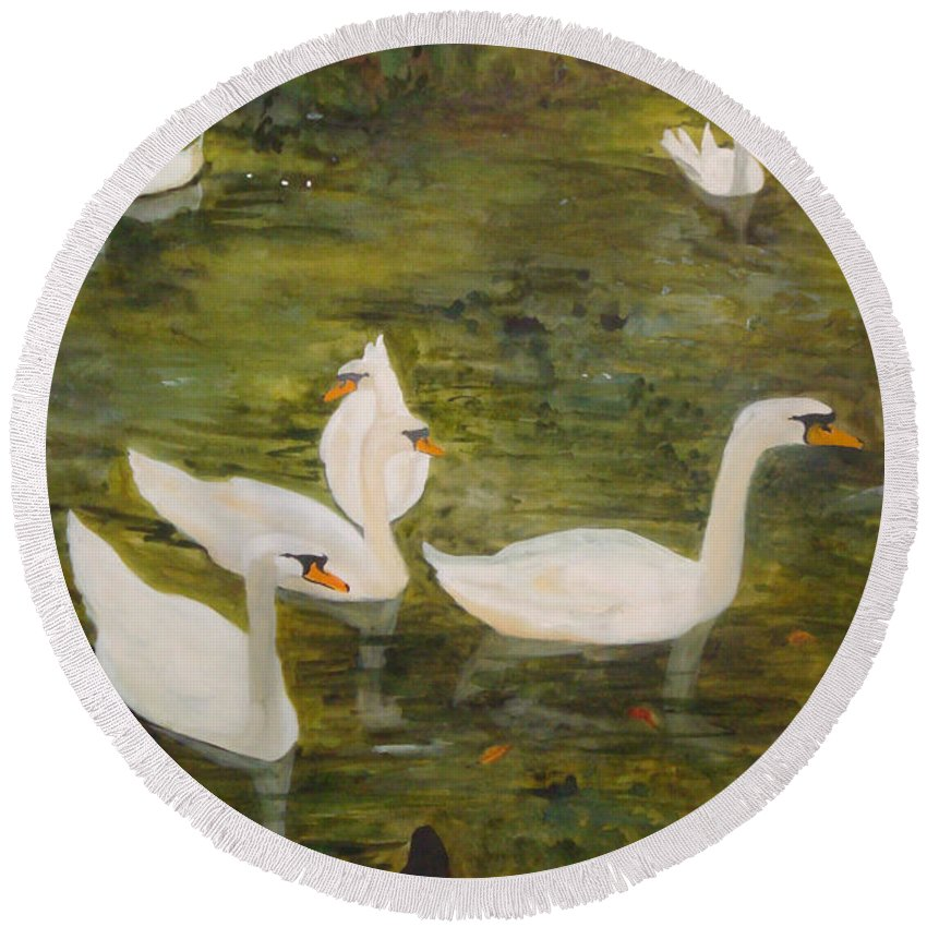 Swan Round Beach Towel featuring the painting Swan Lake by Jean Blackmer