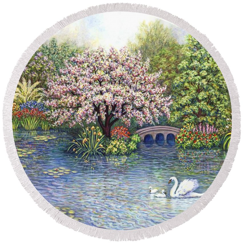 Landscape Round Beach Towel featuring the painting Swan Lake by Linda Mears