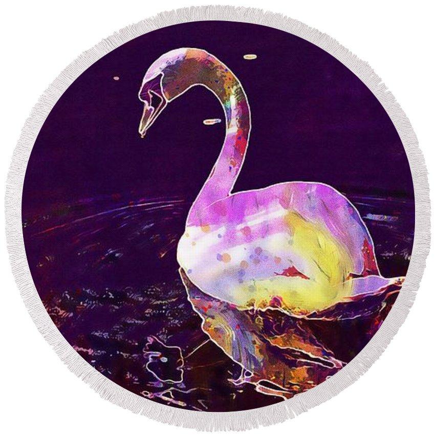 Swan Round Beach Towel featuring the digital art Swan Water Bird Water River by PixBreak Art