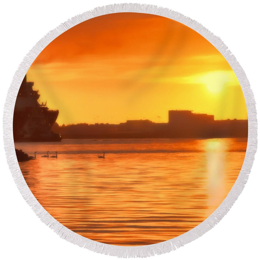 Seascape Round Beach Towel featuring the photograph Swans At Sunset by Nadia Sanowar