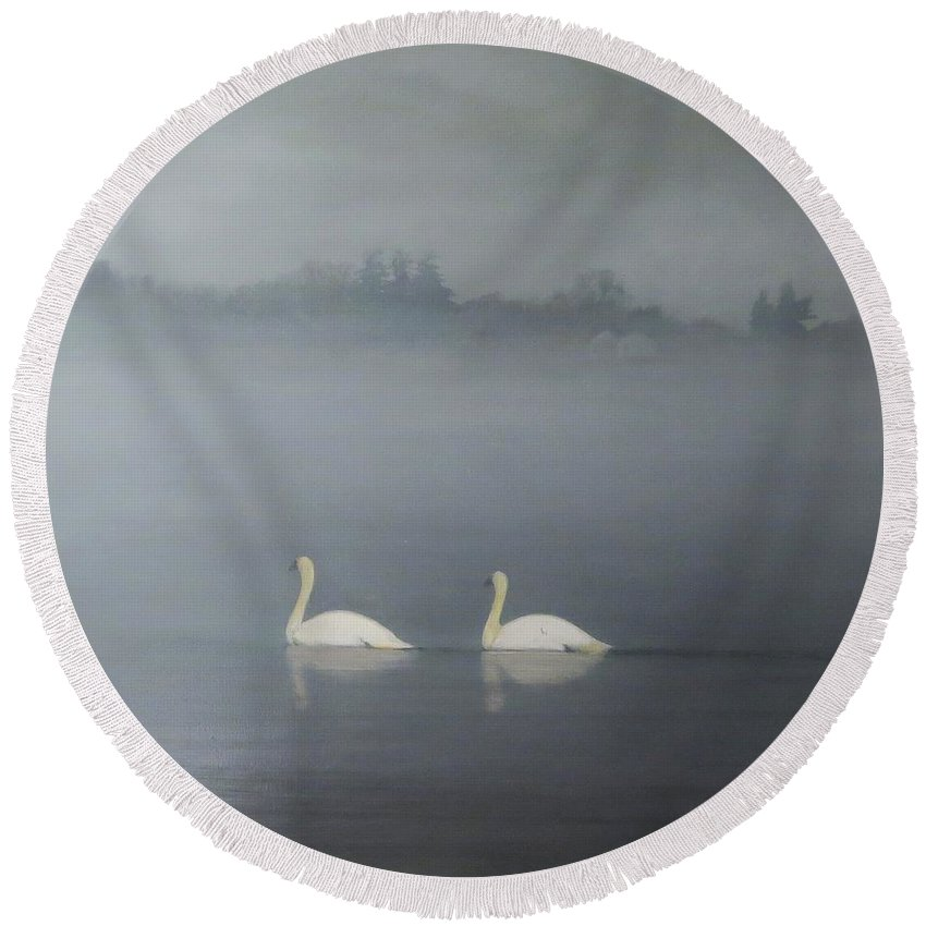 Pond Round Beach Towel featuring the painting Swans On Misty Pond by Dennis Kirby
