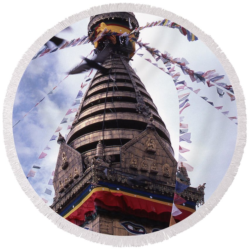 Swayambhunath Round Beach Towel featuring the photograph Swayambhunath by Patrick Klauss