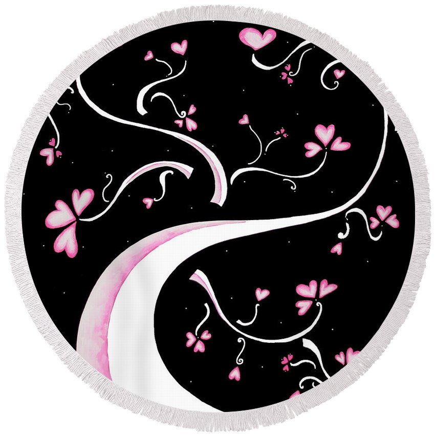 Abstract Round Beach Towel featuring the painting Sweet Charity By Madart by Megan Duncanson
