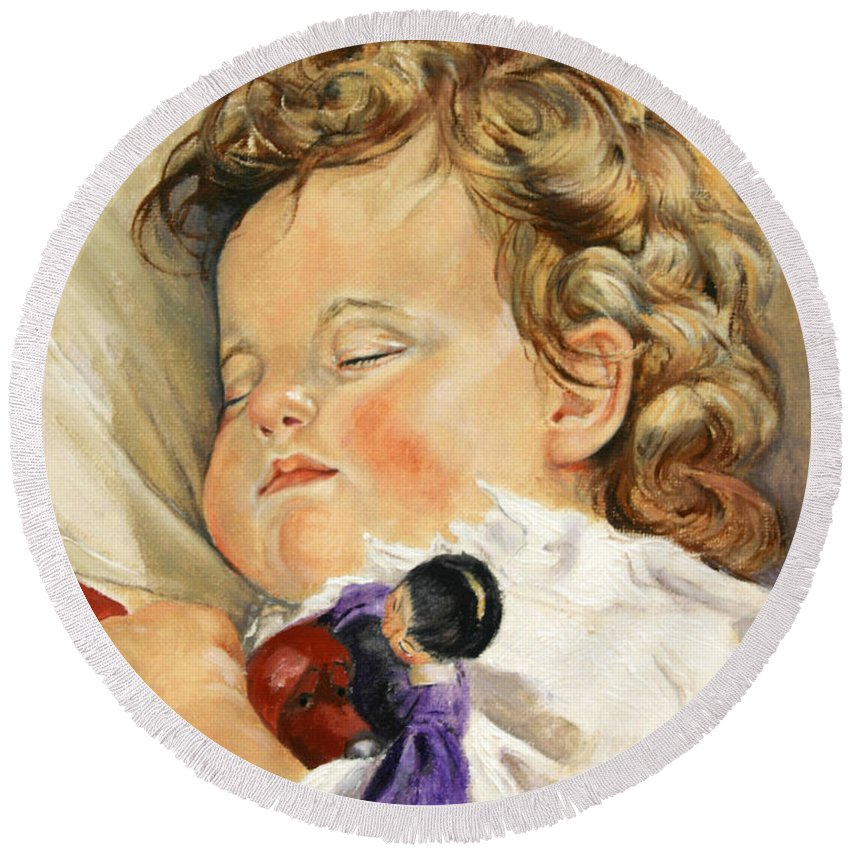 Children Portraits Round Beach Towel featuring the painting Sweet Dreams by Portraits By NC