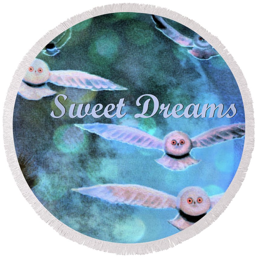 Owls Round Beach Towel featuring the photograph Sweet Dreams by Nina Silver