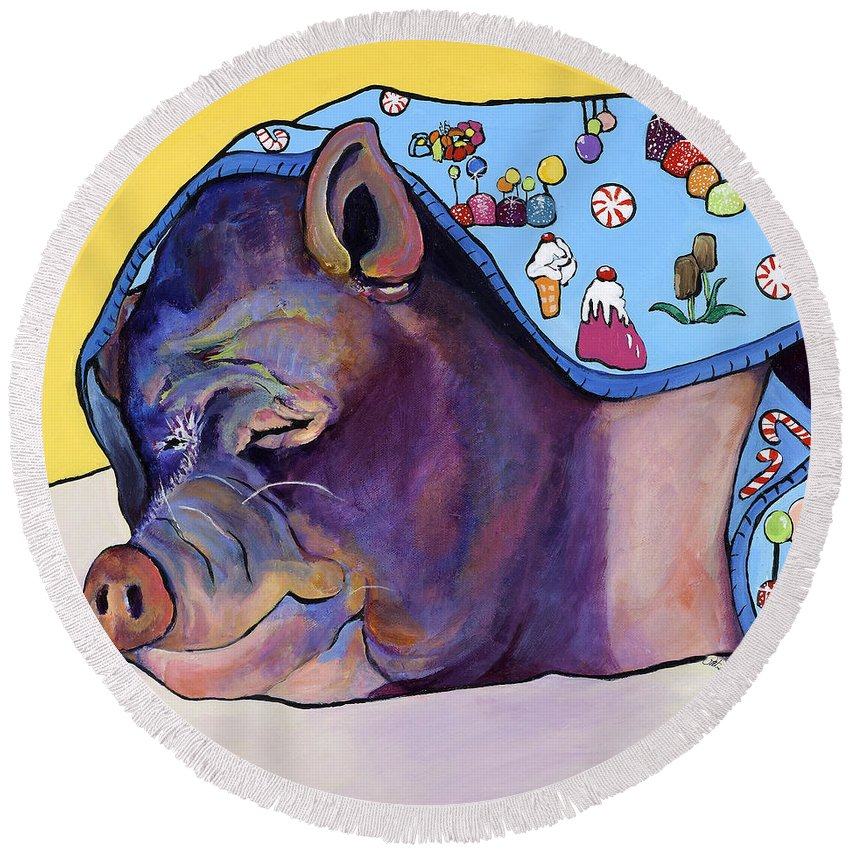 Farm Animal Round Beach Towel featuring the painting Sweet Dreams by Pat Saunders-White