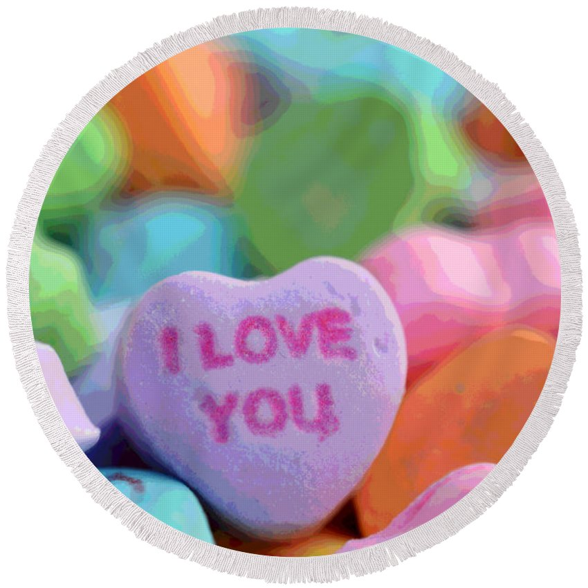 Valentine Round Beach Towel featuring the photograph Sweet Hearts by Dianne Cowen