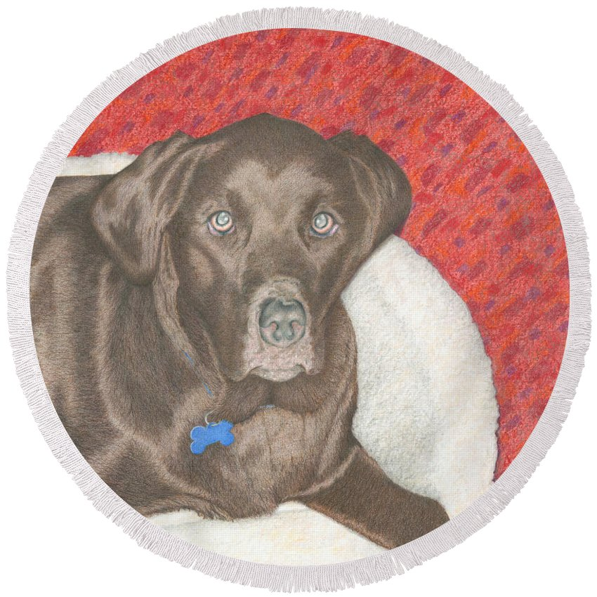 Colored Pencil Round Beach Towel featuring the drawing Sweet Hennessy by Diana Hrabosky