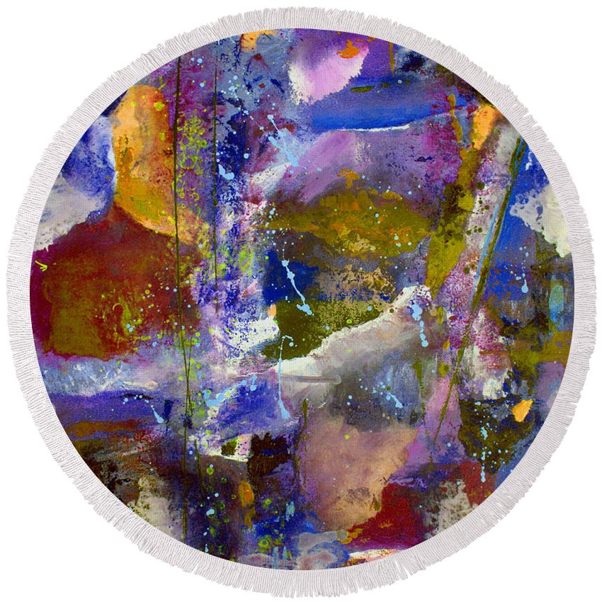 Abstract Round Beach Towel featuring the painting Sweet Inspiration by Ruth Palmer