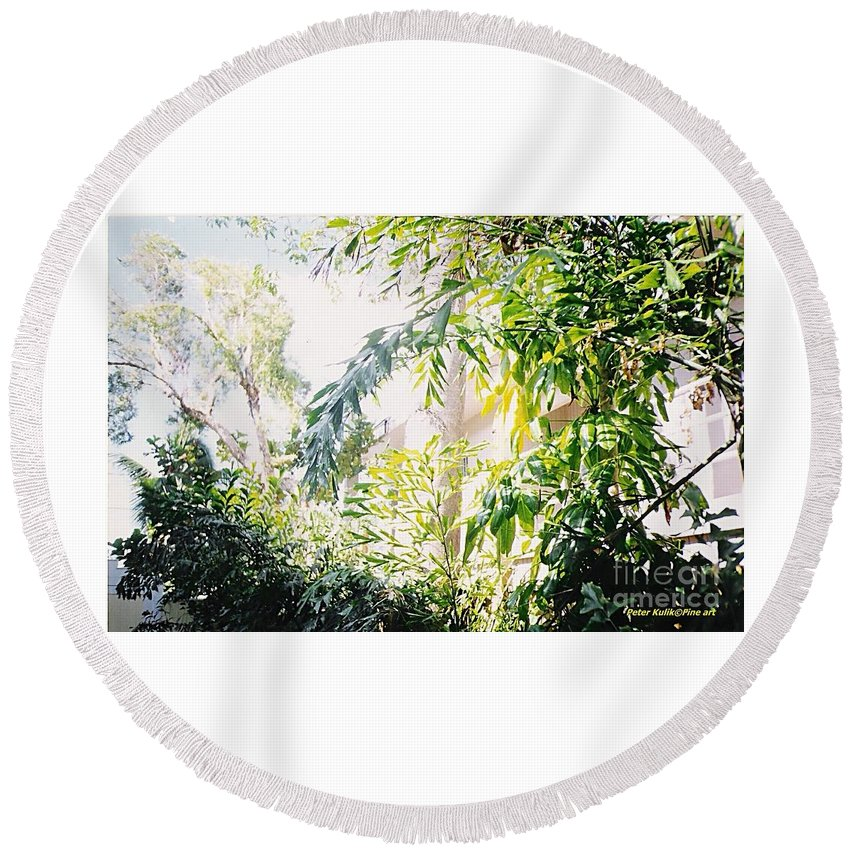 Photo Nature Round Beach Towel featuring the photograph Sweet Key West Green by Peter Kulik