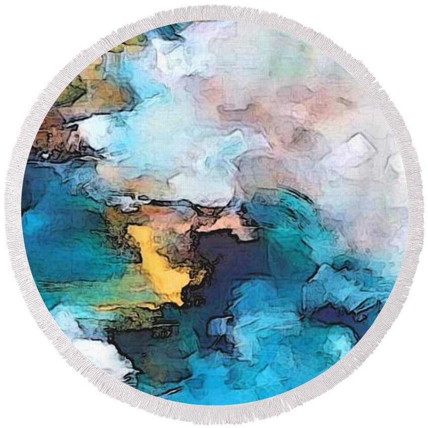 Abstract Round Beach Towel featuring the digital art Sweet Memory Shades by Linda Mears