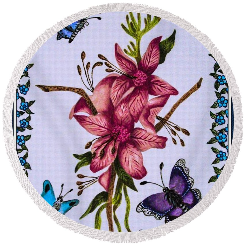Flowers. Butterflies. Nature. Floral . Design. Round Beach Towel featuring the painting Sweet Nectar by Dawn Siegler