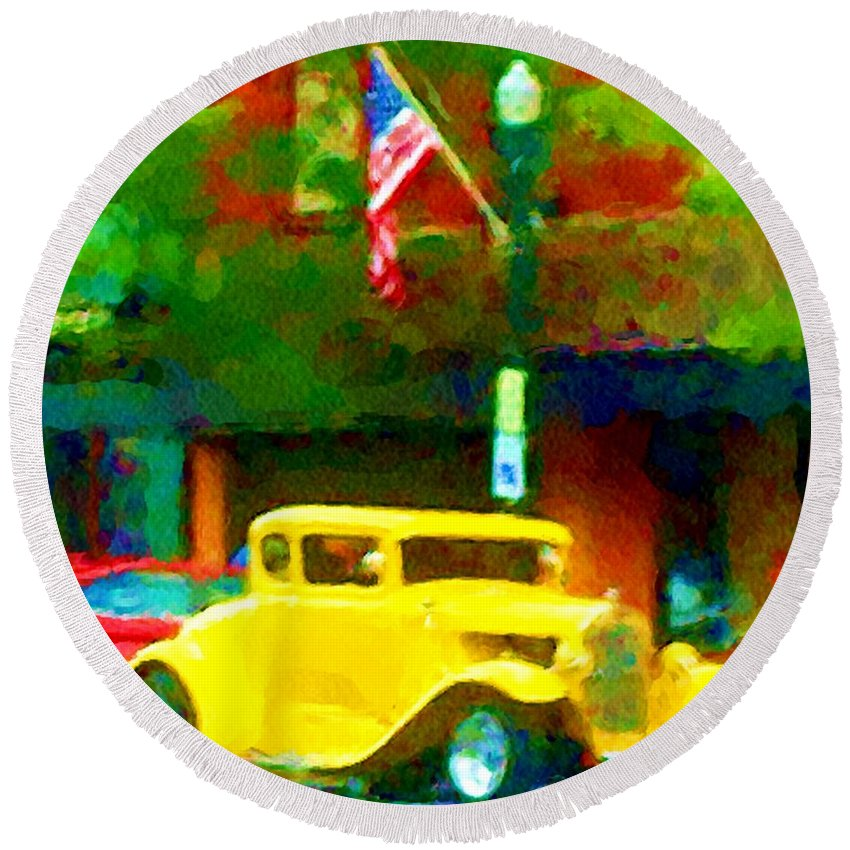 Hot Rod Round Beach Towel featuring the photograph Sweet Ride by David Lane