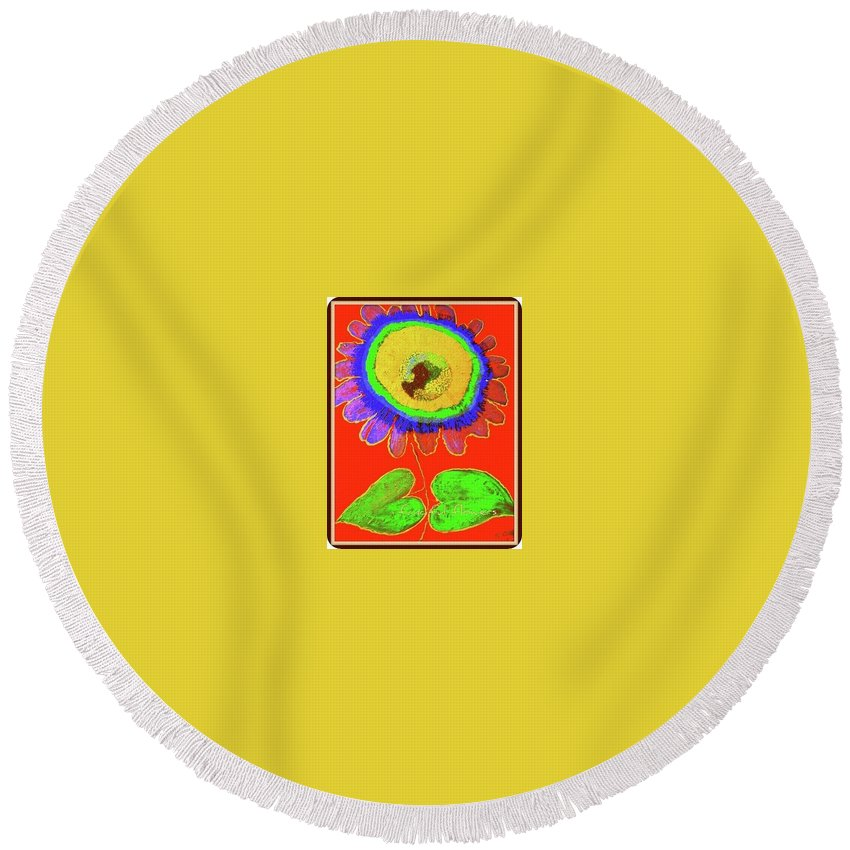 Art Round Beach Towel featuring the painting A Fanciful Flower by Kathy Othon