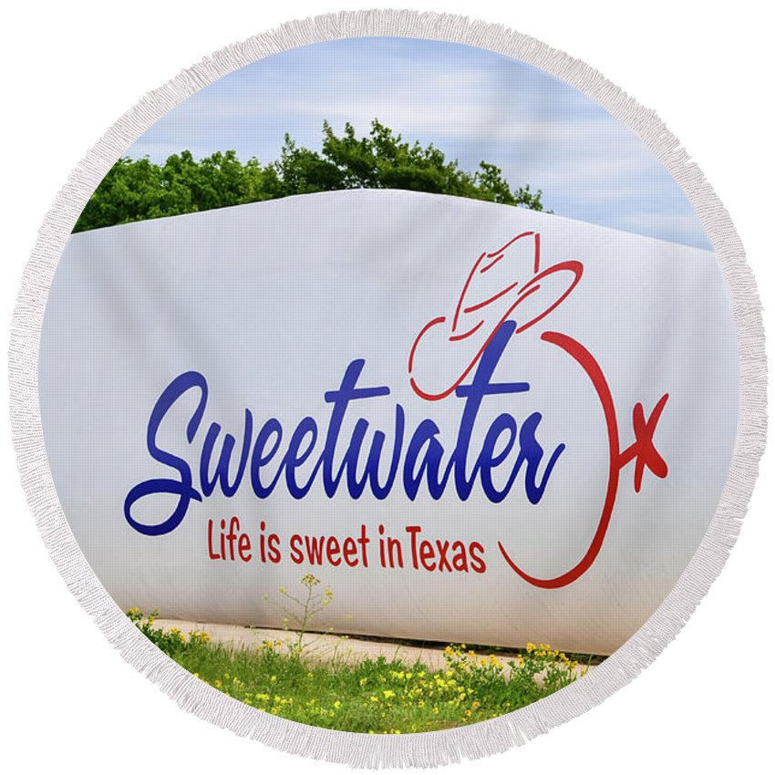 Sweetwater Sign Round Beach Towel featuring the photograph Sweetwater Sign by Soni Macy