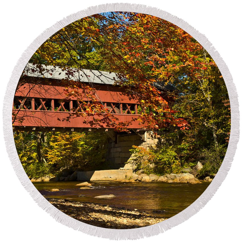 Round Beach Towel featuring the photograph Swift River Covered Bridge In Conway New Hampshire by Jeff Folger