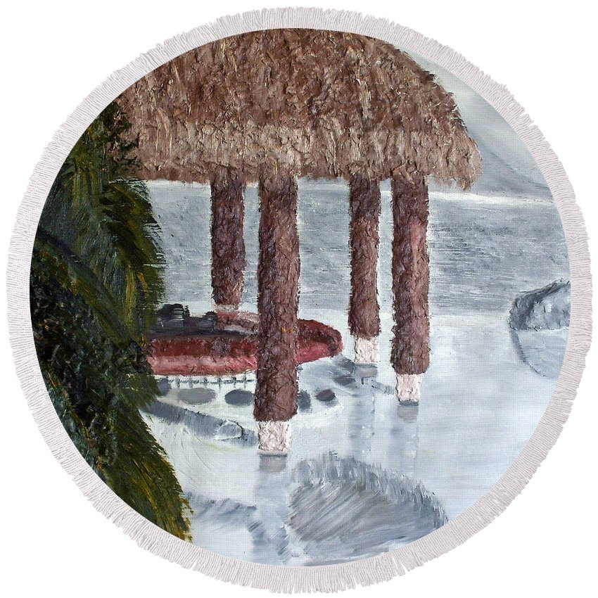 Still Life Paintings Round Beach Towel featuring the painting Swim To A Beach Bar Cool Huh by Leslye Miller