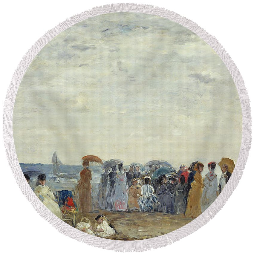 Beach Round Beach Towel featuring the painting Swimmers On Trouville Beach by Eugene Louis Boudin