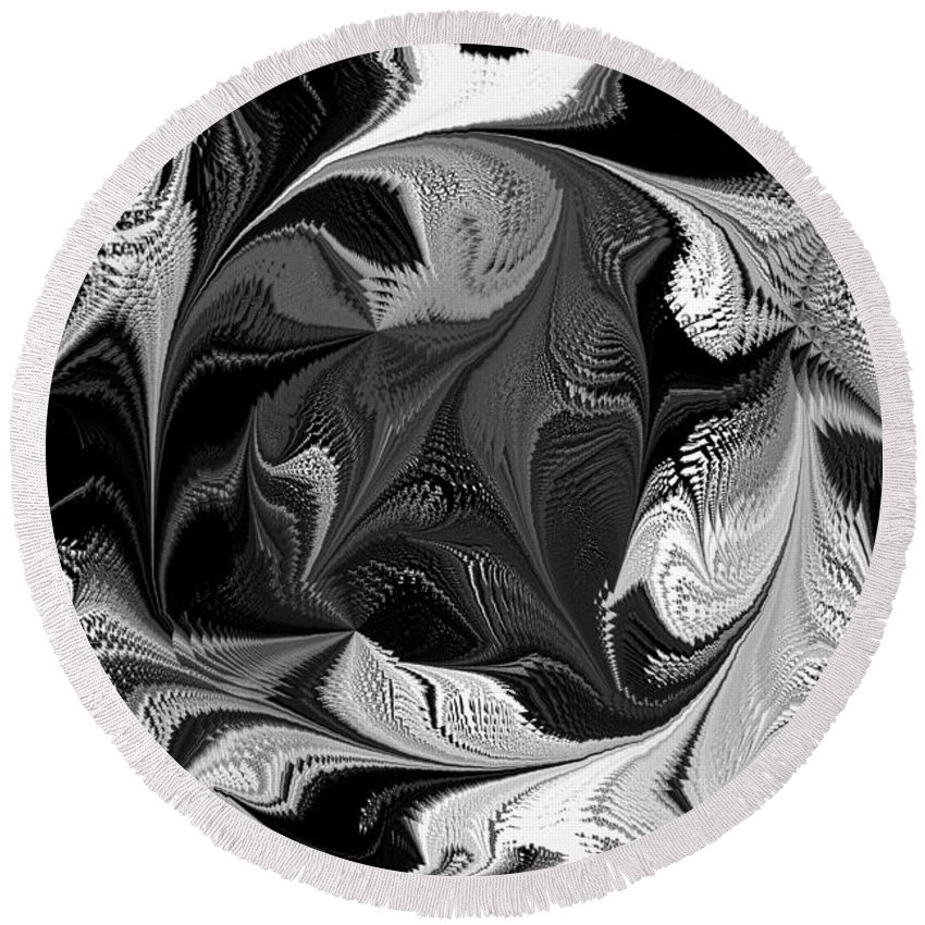 Black And White Round Beach Towel featuring the photograph Swimming In Black And White - Abstract by Marie Jamieson