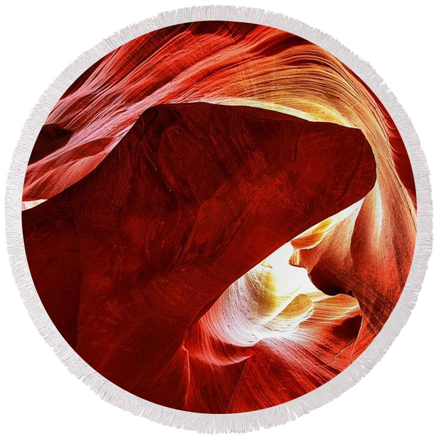 Abstract Round Beach Towel featuring the photograph Swimming In Fire by Adam Jewell