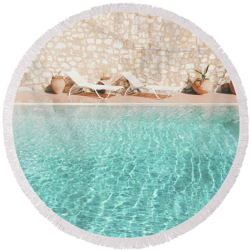 Water Round Beach Towel featuring the photograph Swimming Pool V by Cassia Beck