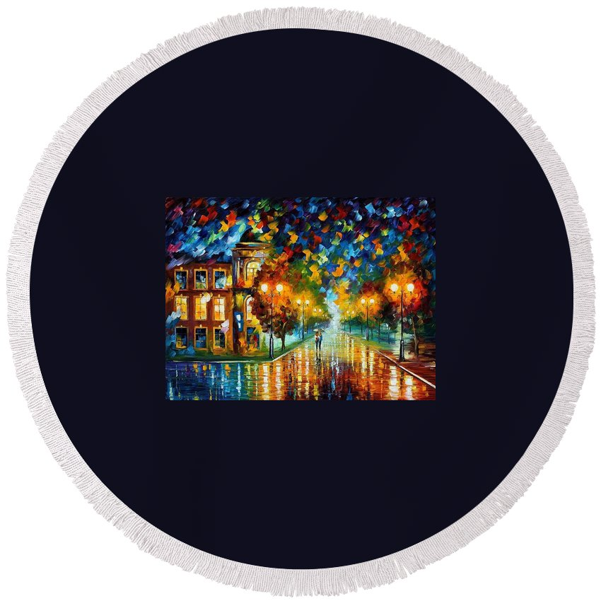 Afremov Round Beach Towel featuring the painting Swimming Sky by Leonid Afremov
