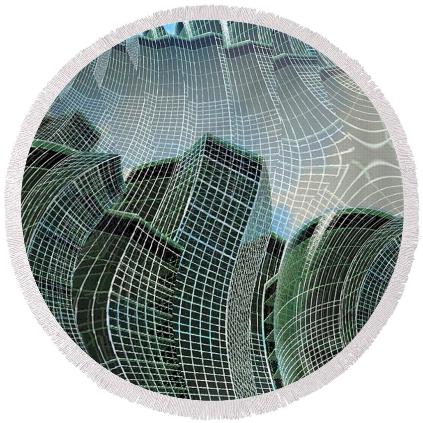 Glass Tower Round Beach Towel featuring the digital art Swing City by Ron Bissett