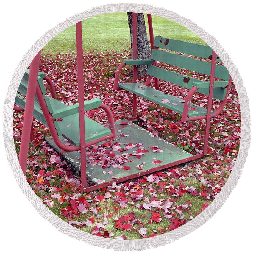 Swing Set Round Beach Towel featuring the photograph Swing Set by David Lee Thompson