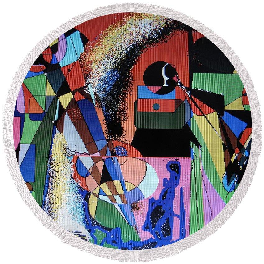 Jazz Round Beach Towel featuring the digital art Swinging Trio by Ian MacDonald