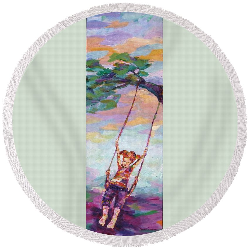 Child Swinging Round Beach Towel featuring the painting Swinging With Sunset Energy by Naomi Gerrard